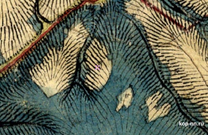 Пустошь на старой карте 1850 Менде Нижегородская область