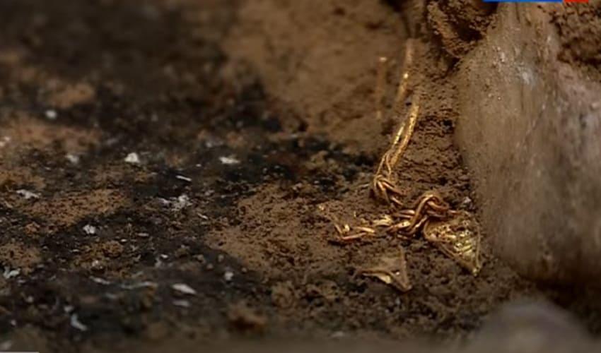 Золотые сережки из древнего кургана Волгоградская область