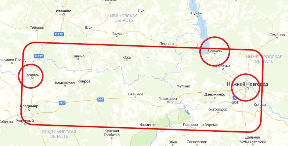 Территория Суздальского и Городецкого